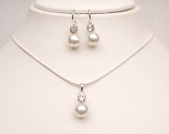 Pearl and diamante wedding jewellery set Sterling Silver pearl & rhinestone pendant bridal jewelry set necklace earrings bridesmaid gift