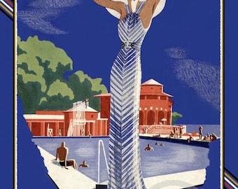 Art Deco 1930s Fashion Print, Girl at country club, Paris resort,  Art Gout Beaute, Designer french fashion, 1933, giclee Art Print ,11x17