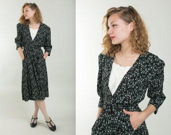 1980's Ditsy dress / Belted dress / Secretary dress / Long sleeve dress