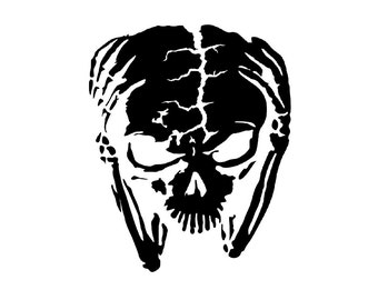 Alien Skull Decal - sticker wall art car auto truck window graphics room decor space et roswell emo goth gothic metal AA41
