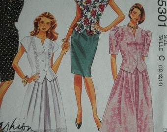Misses Two-Piece Dresses (Top and Skirt) Sizes10-12-14 EASY McCalls Fashion Basics Pattern 5301 Cut-To-Fit  UNCUT Pattern 1991