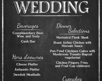 Personalized Welcome to our Wedding Menu Printable File with Bride & Groom Names  - DIY - Rustic Collection