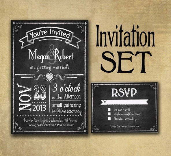 Rustic Chalkboard Style Wedding Invitation Set includes RSVP