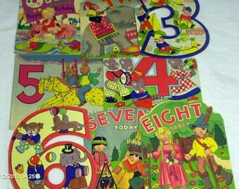 Vintage children's birthday card pack, UNUSED, Nursery rhymes birthday cards, 1/8years vintage birthday cards, children's 8 card pack.