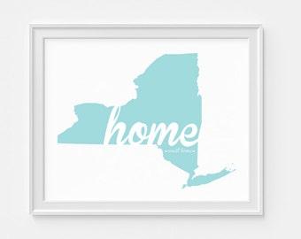 "New York State Print - ""Home Sweet Home"" - Home Decor - State Art"