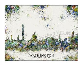 WASHINGTON DC Skyline, Washington DC, District of Columbia, Map of Washington Dc, Map of Washington, White House, National Mall, Georgetown