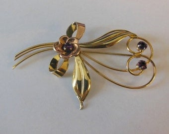 Vintage 10k Solid Gold Flower Pin Gold Tone 7g