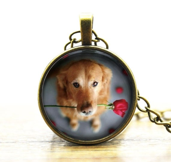 Dog Lovers Gifts Custom Photo Personalized Dog Photo customized necklace Golden Retrievers glass pendant necklace Cute puppy charm Jewelry