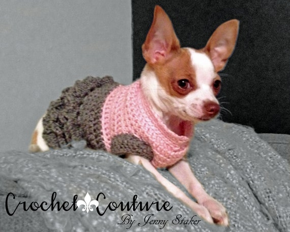 Crochet Xl Dog Sweater : Handmade Crocheted Dog Sweater, Sizes Xxs-Xl, Warm, Two Tone with ...