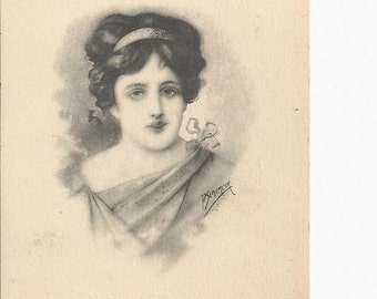 Beautiful Vintage 1910 Glamour Postcard Signed P. Sedelmeier