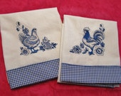 Embroidered Tea Towel/Kitchen Dish Towel, Delph Blue Hen & Rooster Towel set of 2/farmhouse