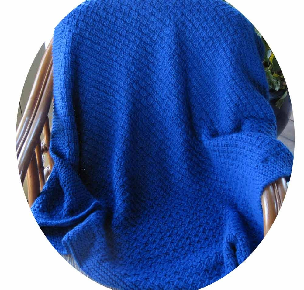 Royal Blue Knitted Blanket Or Throw For Baby Child Or Accent
