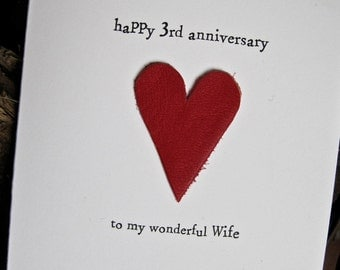 3rd Wedding Anniversary Card LEATHER Traditional Gift Handmade Keepsake Wife Husband Three Years Red Leather Size