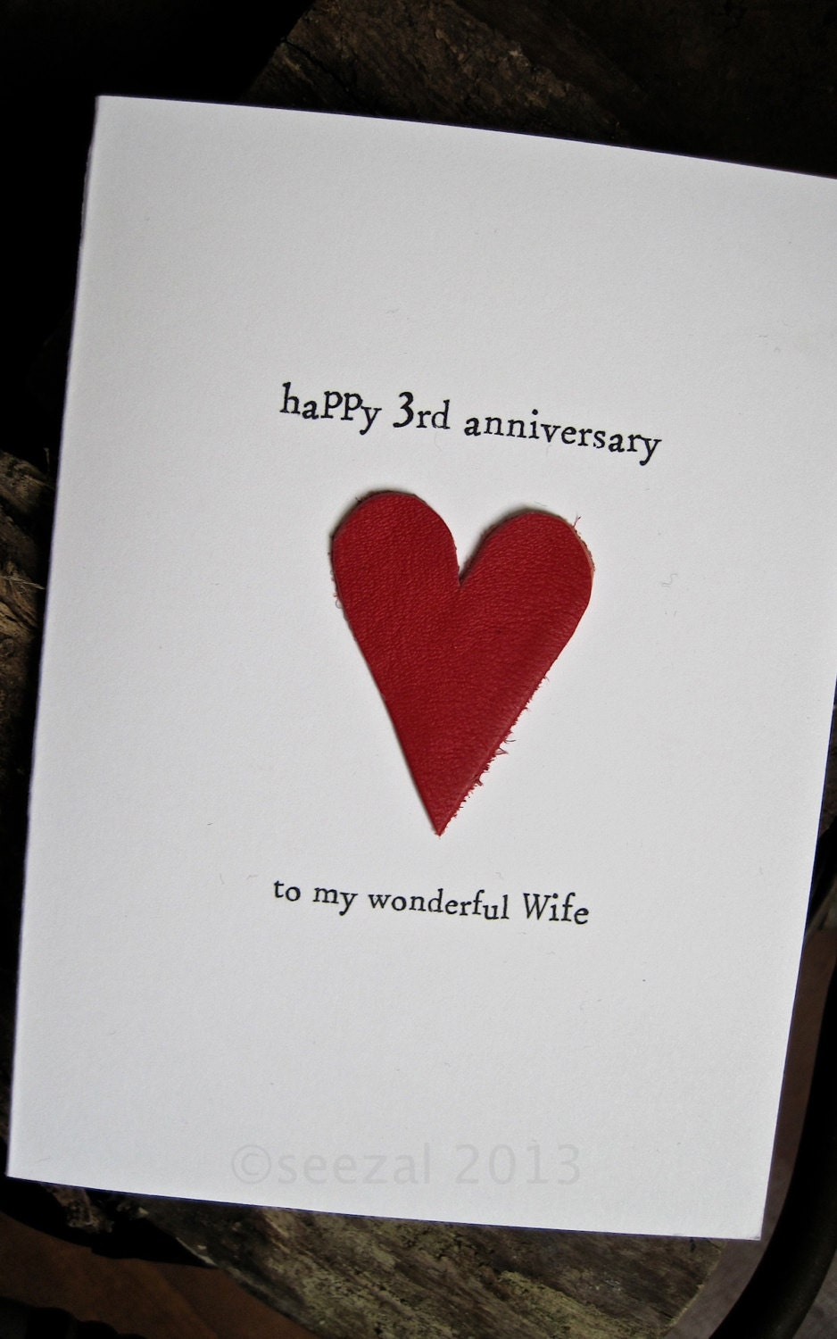 3 Year Wedding Anniversary Gift Ideas For Wife : 3rd Wedding Anniversary Card LEATHER Traditional Gift Handmade