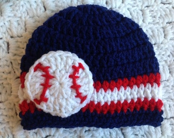 Baby Baseball Hat Crochet Beanie Navy Red Blue Stripes Cleveland Indians Red Sox Washington Nationals