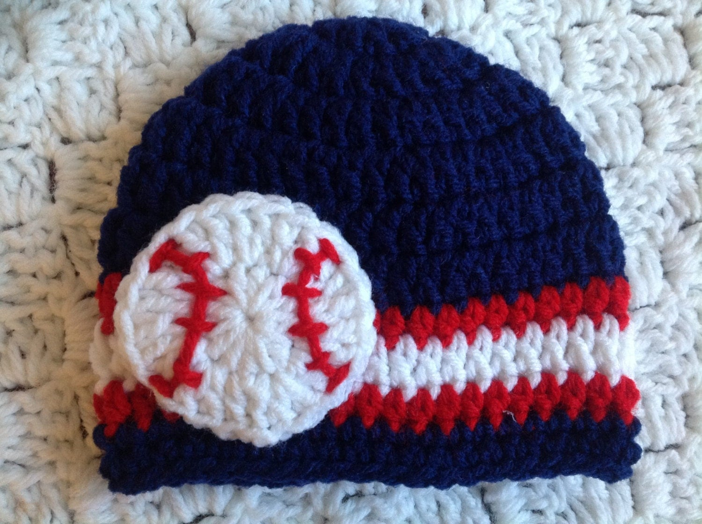 baby baseball hat crochet beanie navy by