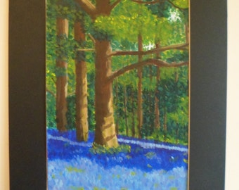 Bluebell Woods Painting (A3 size)