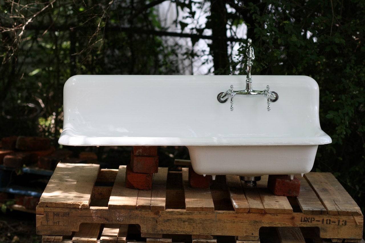 1937 Cast Iron Porcelain Drainboard Farmhouse Sink 42 By