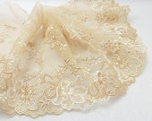 6 5/16 Inches Wide Lace|Beige Floral|Embroidered Lace Trim|Bridal Wedding Materials|Clothing Ribbon|Hairband|Accessories DIY - NivaAccessories