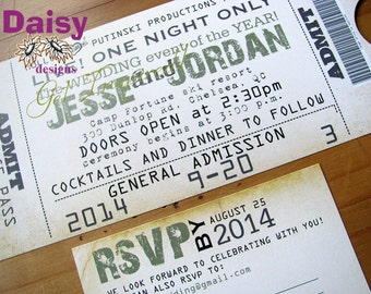 Concert Ticket Invitation / Wedding Ticket Invite