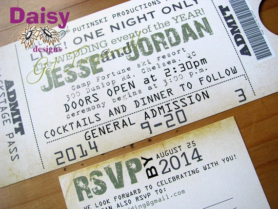 concert ticket invitation wedding ticket invite