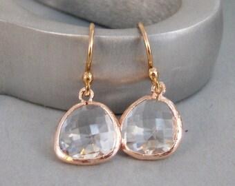 Rose Gold Crystal,Earrings,Rose Gold Earrings,Rose Gold,Gold Filled,Crystal Earrings,Rose Gold Earrings,SeaMaidenJewelry