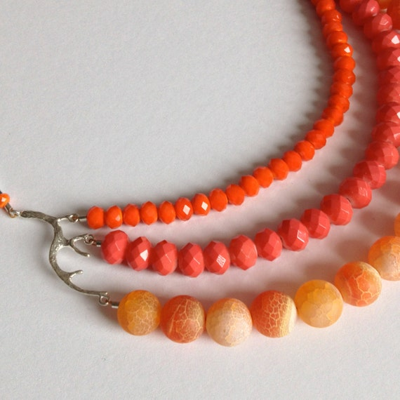 Orange Statement Necklace Little Gems by Luisa on Etsy