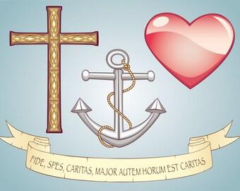 Vector Clipart Set Symbols Faith, Hope, Love, Parchment Scroll Glossy Heart Anchor Cross