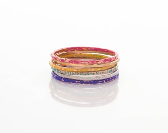 Patinaed Copper Stacking Rings - Multi Colour - Set of 6