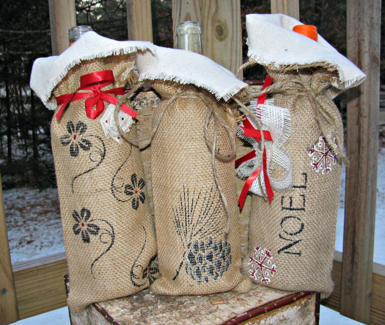 Rustic Wedding Ideas Using Burlap: Burlap Wine Bag Rustic Wedding Decor By LittleZebrasBoutique