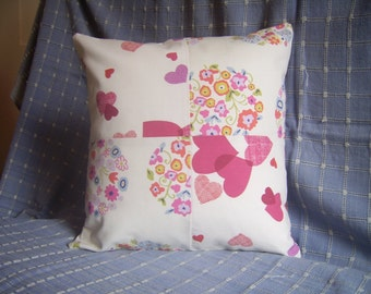 Love Cushion Cover, Hearts & Flowers, Valentine, Cotton Fabrics, Home Decor