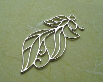 Amoracast Sterling Silver Vined Leaf Pendant 925 1pc 20x42mm pendant outline delicate organic nature modern Free Shipping
