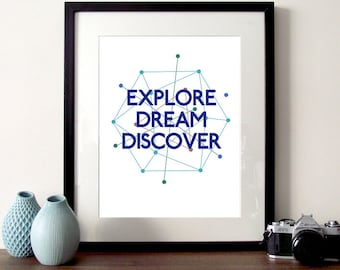 Explore, Dream, Discover, Mark Twain, quote print, motivational quote, inspirational quote, typography print, pattern quote, science poster