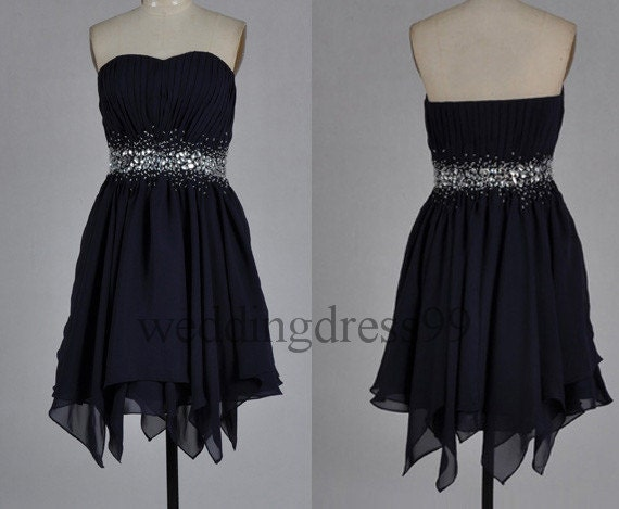 Custom Black Beaded Short  Bridesmaid Dresses 2014 Simple Prom Dresses Fashion Evening Gowns Party Dress Cocktail Dress Wedding Party Dress