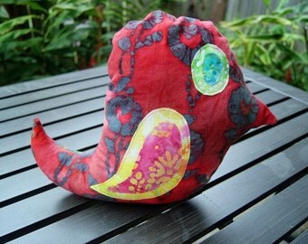 Handmade Batik Bird Stuffed Animal
