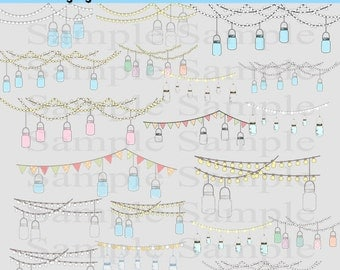 Mason Jars Digital Clipart , INSTANT DOWNLOAD, Lights and Hanging Mason JArs Jelly Jars Clipart, Ball Mason Jars, Personal and Commercial