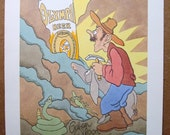 """rare 1970's OLYMPIA BEER prospecting poster by cartoonist Gahan Wilson.  unused. """"Olympia Beer What A Find""""."""