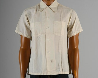 Mens Vintage 40s NOS Deadstock Mark Twain Pleisure Shirt Loop Collar Short Sleeve