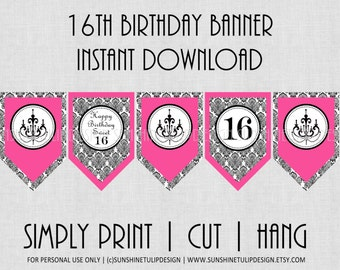16th Birthday Banner Damask Black and Pink by SunshineTulipdesign