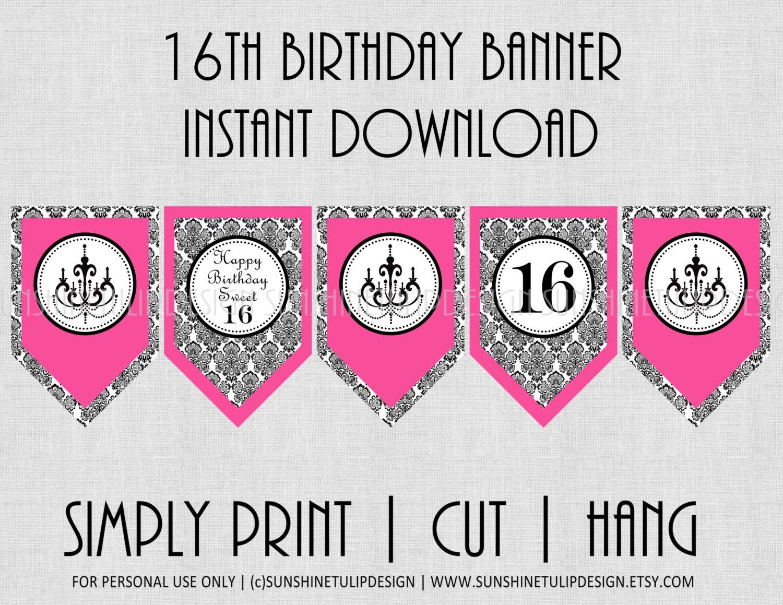16th birthday banner damask black and pinksunshinetulipdesign