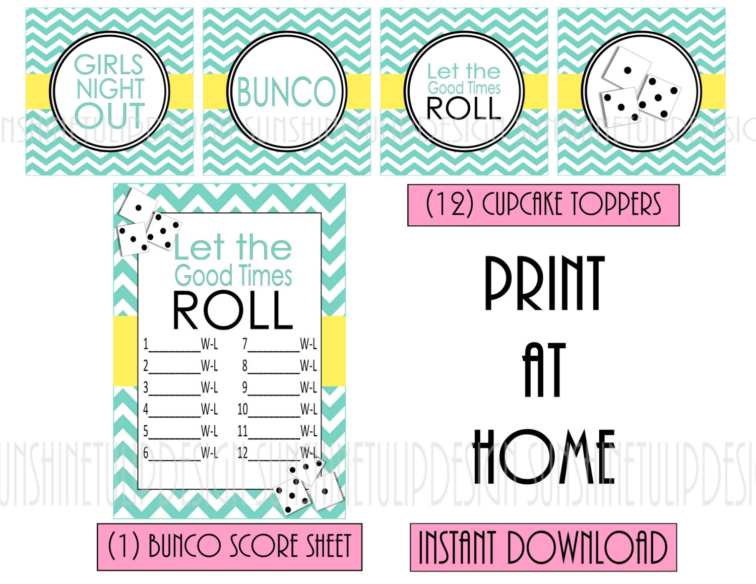 BUNCO Party Printable Score Sheet Party Favor Tags Cupcake – Bunco Score Sheets Template