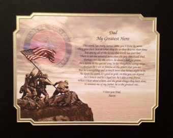 MARINES Gift for Dad Personalized My Greatest Hero Sentimental Poem Father's Day Birthday Military