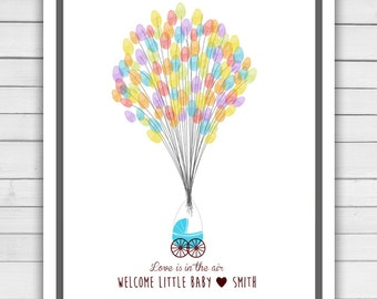 Printable Baby shower guestbook - thumbprint guestbook - baby shower fingerprint - baby shower thumbprint - balloons - baby shower balloons