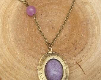 Antique Brass Jade Bird Locket Necklace Victorian Jewelry Gift Vintage Style