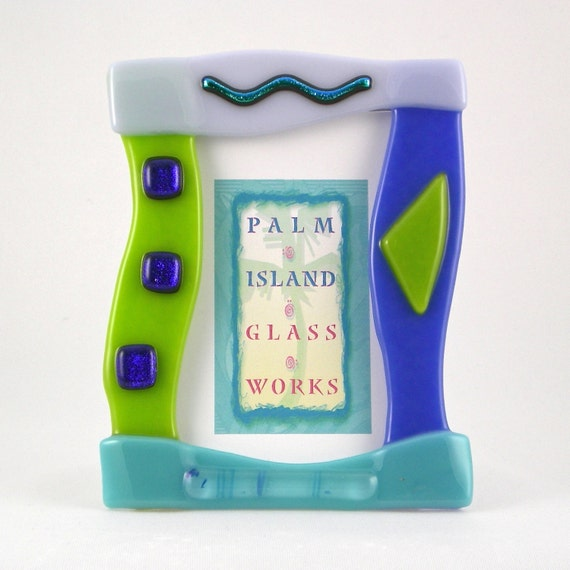 fused glass picture frame caribbean 2 5