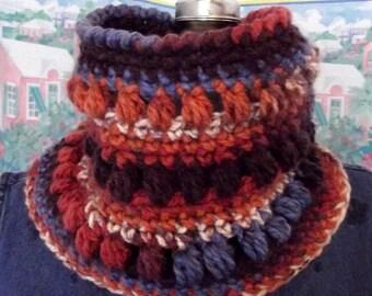 Handmade Crochet Cowl, Russet, Brown, Periwinkle, Collar, Scarflet, Desert Sunset Inspired