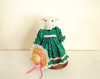 Vintage Animal Figurine, Sheep Doll in Green Dress and Straw Hat, Department 56, Kid's room decor
