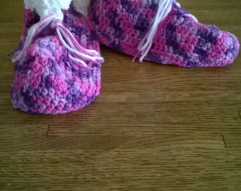Pink and Purple  Crochet Slippers, Size Large