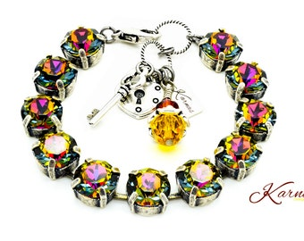 CRYSTAL VOLCANO 47s or 10mm Crystal Charm Bracelet Made With Swarovski Crystal *Choose Your Finish *Karnas Design Studio™ *Free Shipping*