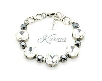 PURE RADIANCE 12mm/6mm Crystal Cushion Cut Bracelet Made With Swarovski Elements *Antique Silver *Karnas Design Studio *Free Shipping*